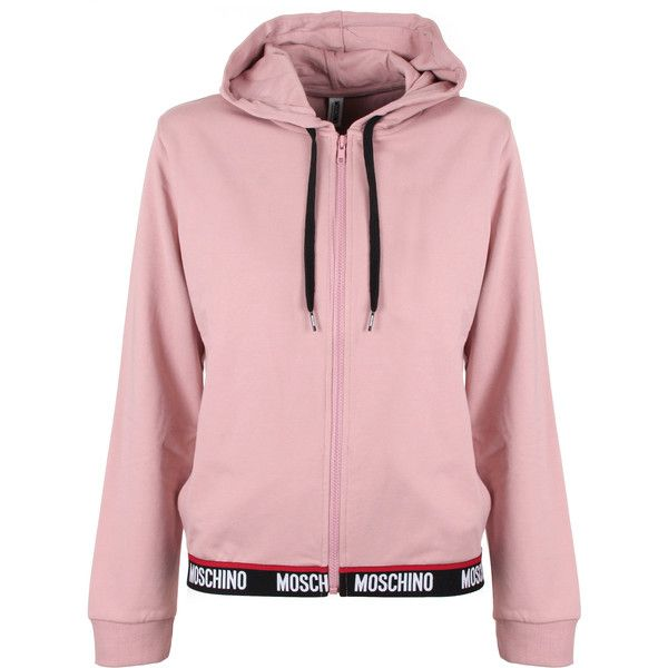 bf892b81db8b6a Moschino Logo Tape Hoodie (£200) ❤ liked on Polyvore featuring tops ...
