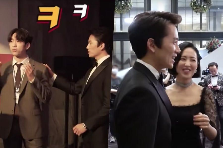 """Watch: Ji Sung Puzzles GOT7's Jinyoung And Kim Min Jung Behind The Scenes Of """"The Devil Judge"""""""