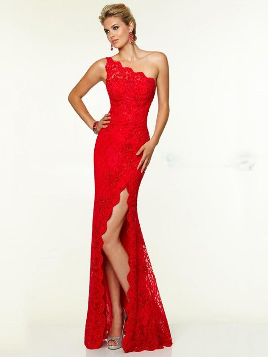 One-Shoulder Red Lace Long Sheath Prom Dresses Evening Gowns 99602213