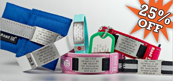 """Road ID is currently having a sale on their site at up to 75% OFF.   For those of you who doesn't know what a Road ID is here's a link to a post explain what it is and """"Why Every Runner Should Have An ID Bracelet or Tag"""". http://www.womensrunningcommunity.com/why-every-runner-should-have-an-id-bracelet-or-tag-a-runner-story/"""