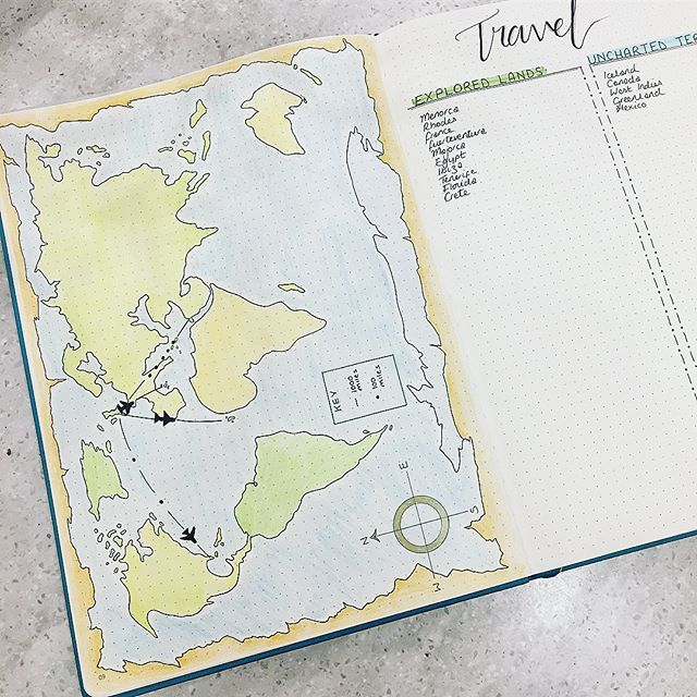 i made a travel log in my new bujo the map side i can track how far i have travelled and the log side i can track where i have been and