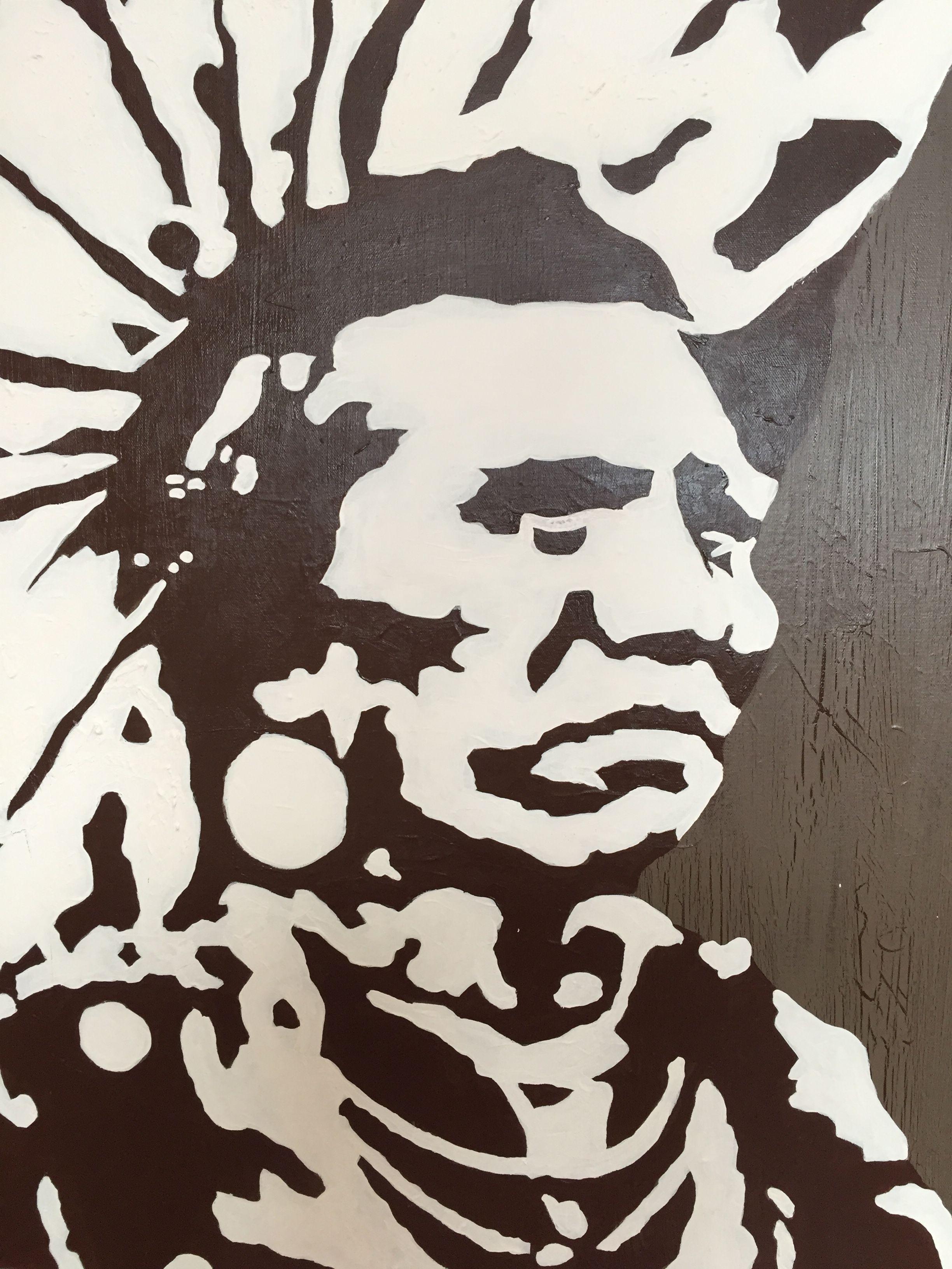 """""""Indian Chief III"""" by Maria Fosli 70x70 acrylic Moose"""