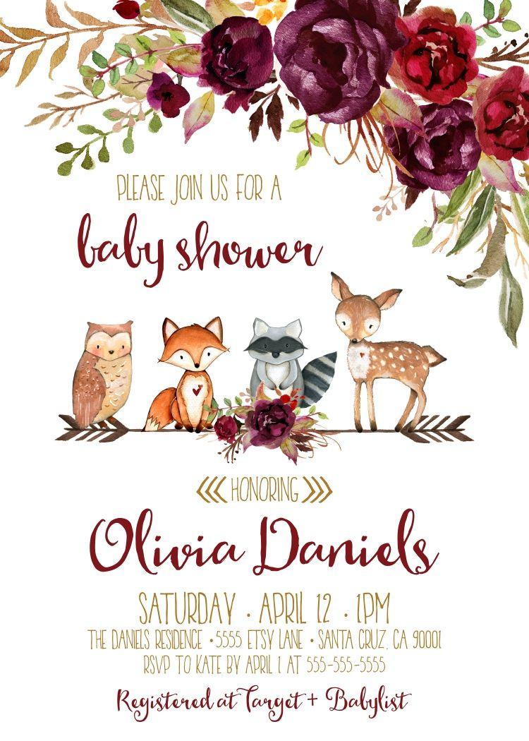 Woodland baby shower invitations, Autumn, Fall invitation, Burgundy ...