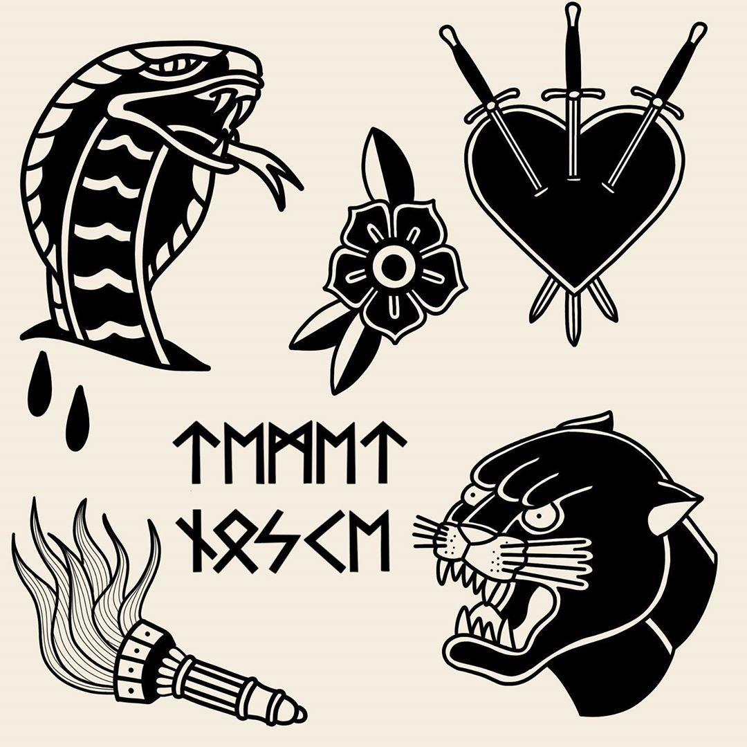 Less is more, more or less 🏴‍☠️ #flash #thehague #traditional #tattoo #tattoos #traditionaltattoo #tattooinspiration #tattooart #tattoodesign #oldschool #drawing #blackandwhite #ink #inked #cobra #snake #three #of #swords #heart #torch #black #panther #temetnosce