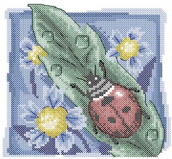 Ladybug At Blue Flower Cross Stitch Free Embroidery Design Cross