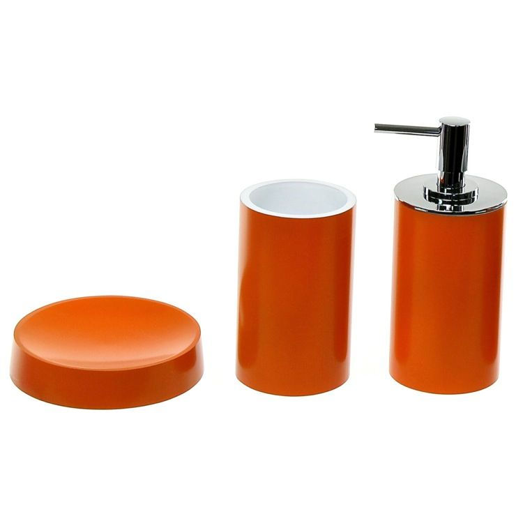 Unique Orange Bathroom Accessory Set Including Soap Dish, Toothbrush  Holder, And Soap Dispenser. From The Gedy Piccollo Collection.