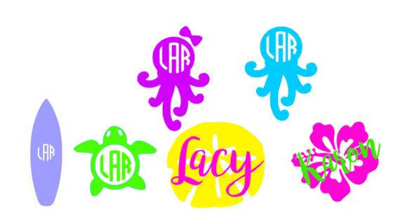 Beach theme monogram decal yeti cup personalized by designbylace