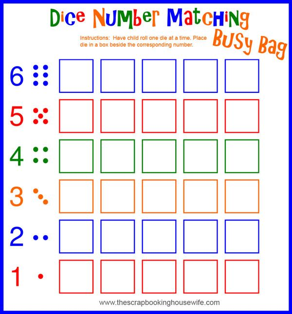 Busy Bags for Preschoolers - Dice Number Matching Game | Matching ...