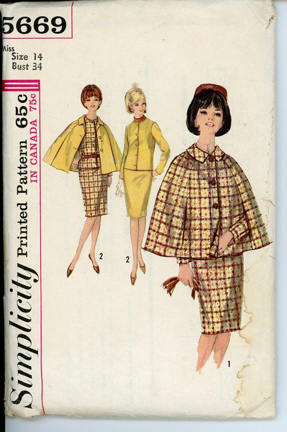 Simplicity 5669 Misses 1960s Suit and Cape Pattern by CynicalGirl, $26.00