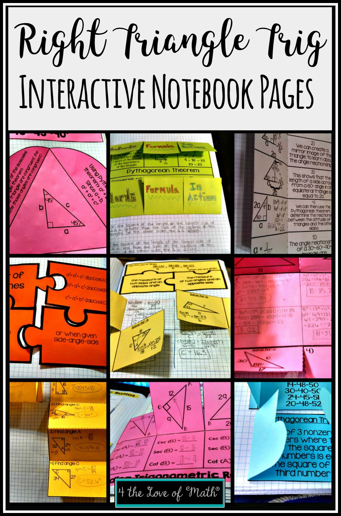 Right Triangles Trig Geometry Interactive Notebook Pages