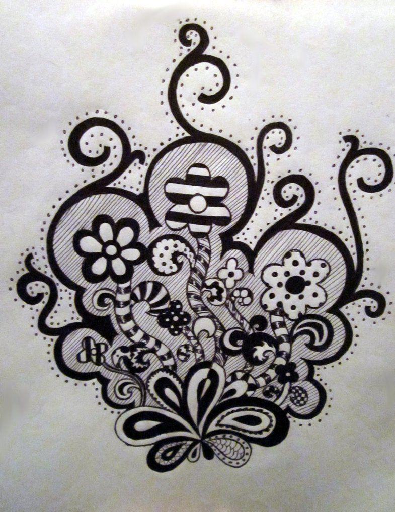 Vignette Flowers By Bribri Chan On Deviantart Zentangle Patterns Flower Art Vignettes
