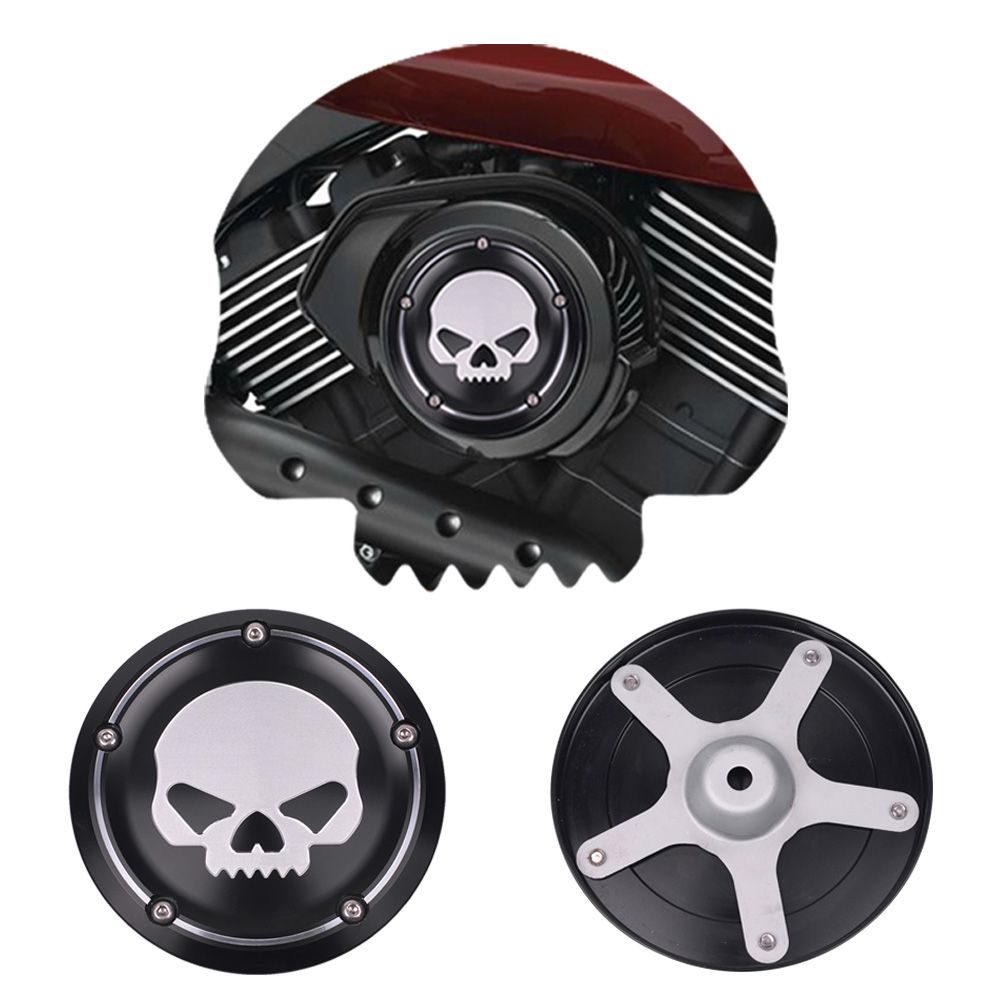 Black Motorcycle Skull Air Cleaner Cover Deep Cut CNC Aluminum Decorative Cover Accessories For Harley Street XG500 750 20152016