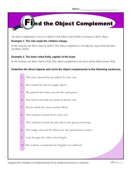 Find The Object Complement Worksheet Middle School Activities 5th Grade Worksheets Nouns Worksheet