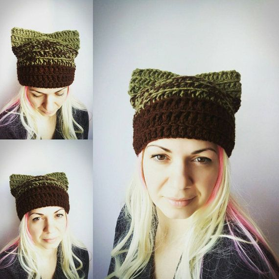 Green Cat Hat Brown Pussy Hat Cat Crochet Hat with Ears Animal Hat ...