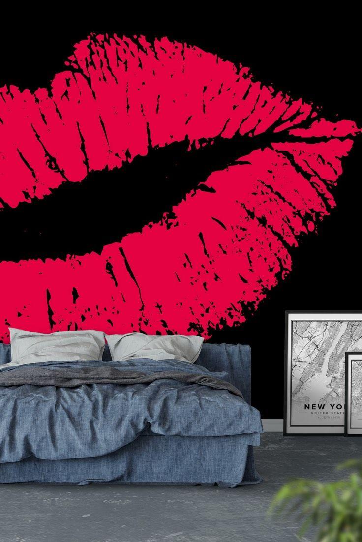 pink lips black wall mural wallpaper art art wall murals pinkpink lips black wall mural wallpaper