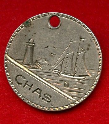 Engraved Front and Back Lighthouse Sailboat Antique  silver Love Token Coin | eBay