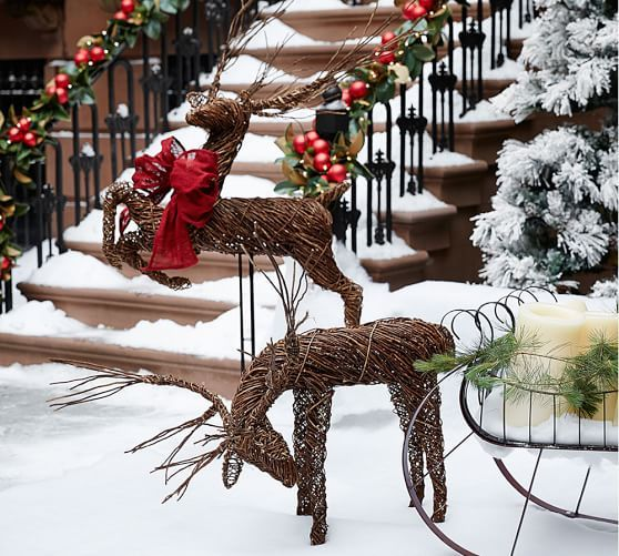 outdoor twig deer pottery barn outdoor christmas reindeer christmas deer decorations whimsical christmas - Pottery Barn Outdoor Christmas Decorations