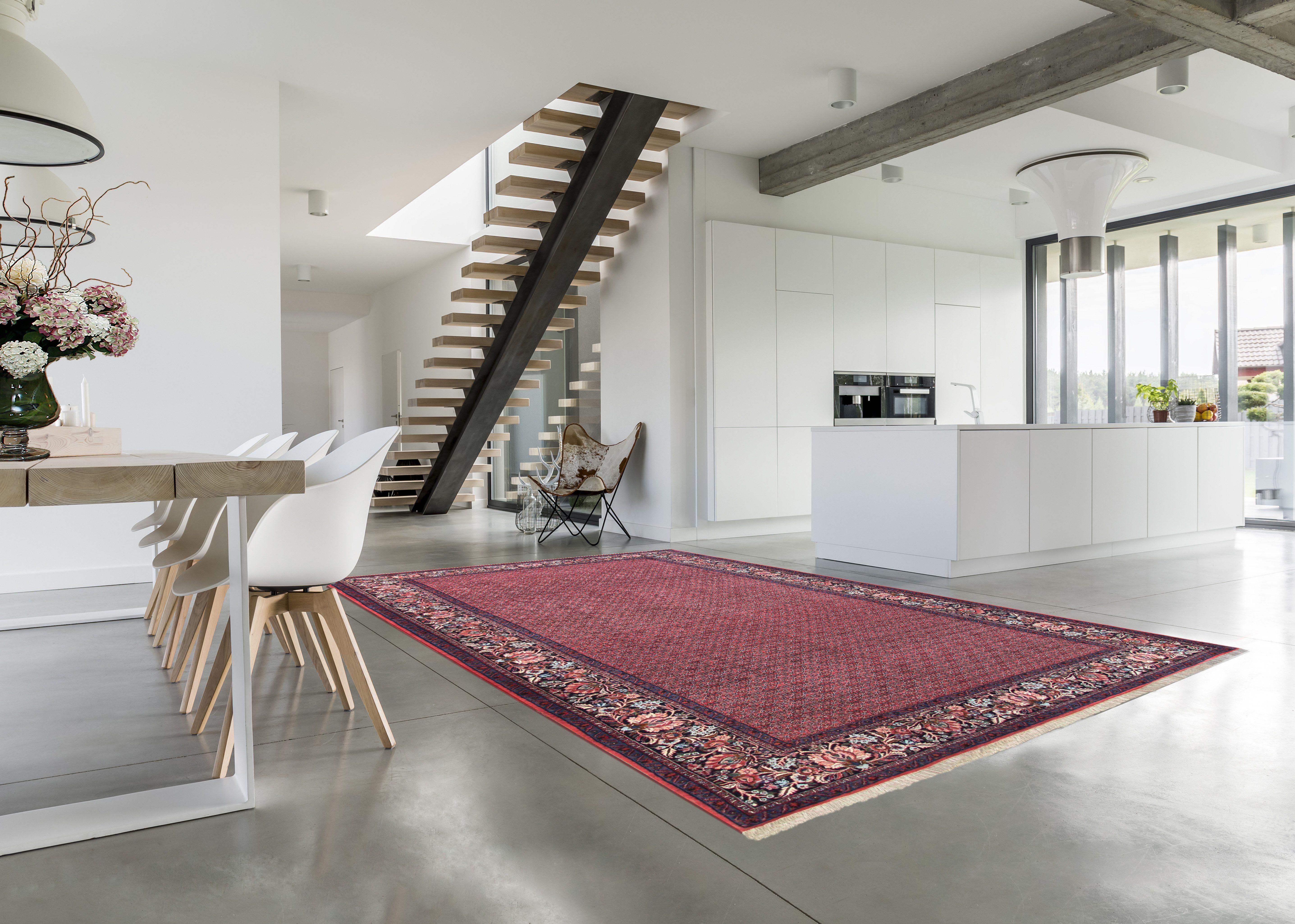 Der Original Persische Teppich Quot Bidjar Quot Ist Mit Seinem Ornamentmuster Auf Rotem Grund Ein Eyecatcher In Offene Perserteppich Haus Deko Wohnung Design