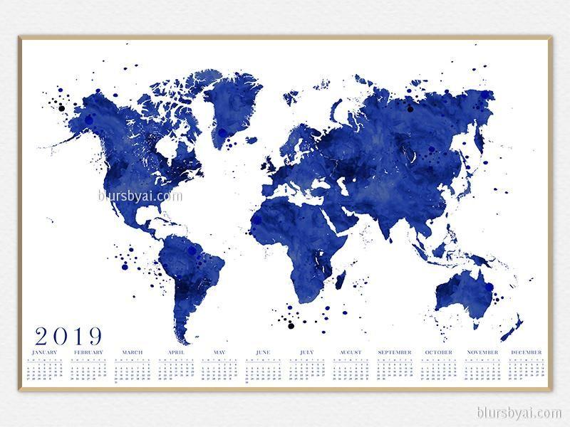 Printable 2019 calendar: watercolor world map in navy blue ... on vibrant world map, kawaii world map, survival world map, fake world map, titanium world map, thank you world map, america's world map, nameless world map, distressed world map, scary world map, neutral tone world map, bunny world map, doodle world map, umbrella world map, silly world map, sick world map, evil world map, wealthy world map, spooky world map,