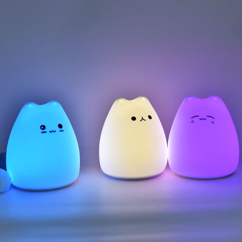 Little Cat Silicone Light Aaa Battery Type New Product Colorful Baby Night Light Kids Sensor Lamp For Christma Night Light Kids Baby Night Light Night Light