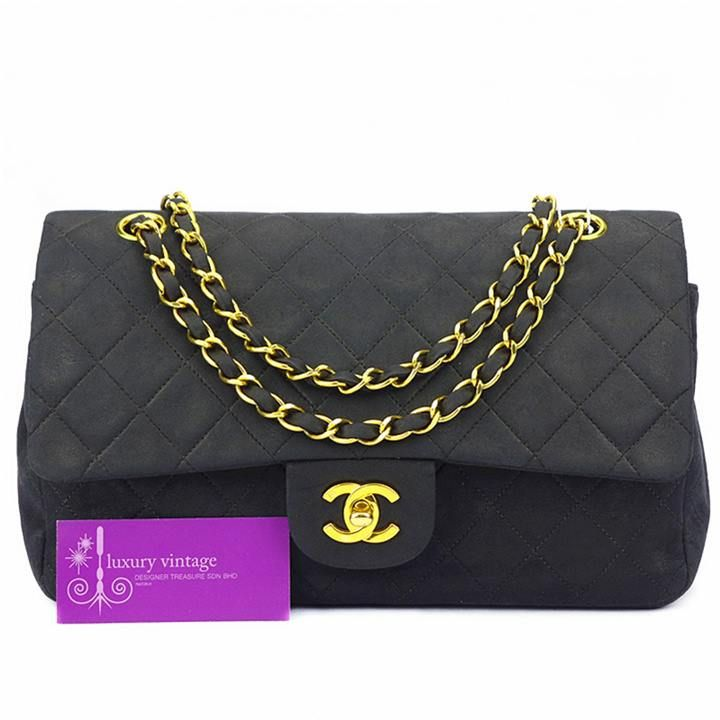 Chanel Vintage Double Flap Bag Black Colour Lambskin With Gold Hardware Fair Conditions Chanel Collection Chanel Chanel Brand