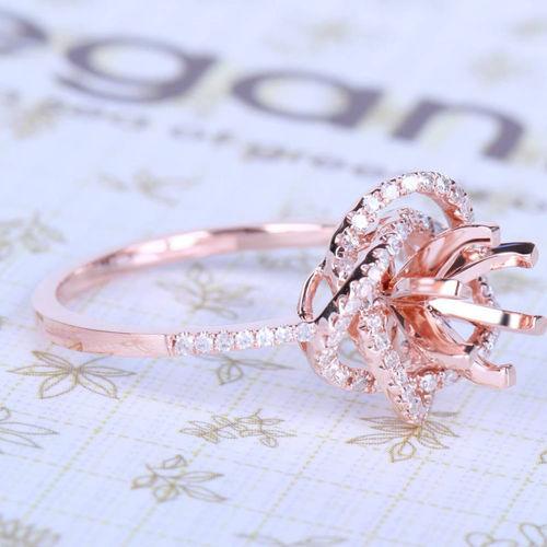 6mm Round Solid 14k Rose Gold Engagement Wedding Diamond Semi Mount Ring Setting | eBay ☺  ✿