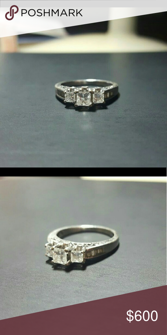 1 ctw diamond ring in 14k Beautiful three stone diamond engagement ring in 14k white gold with diamond baguettes down the band. Perfect engagement or right hand ring  Tags 14k 14kt 10k 10kt 18k 18kt Jewelry Rings