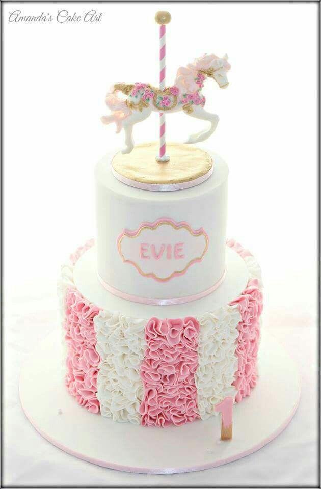 Carousel horse cake with pink ruffles  Cake Decorating