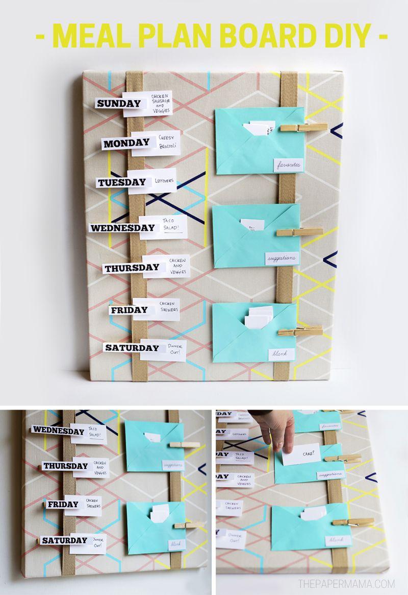 Meal Plan Board DIY - With Free Printables | Weekly meal planner ...