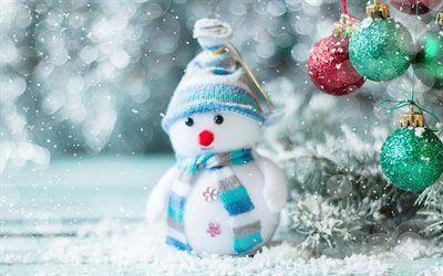 schneemann, winter, schnee, weihnachten, neujahr, niedlich, spielzeug