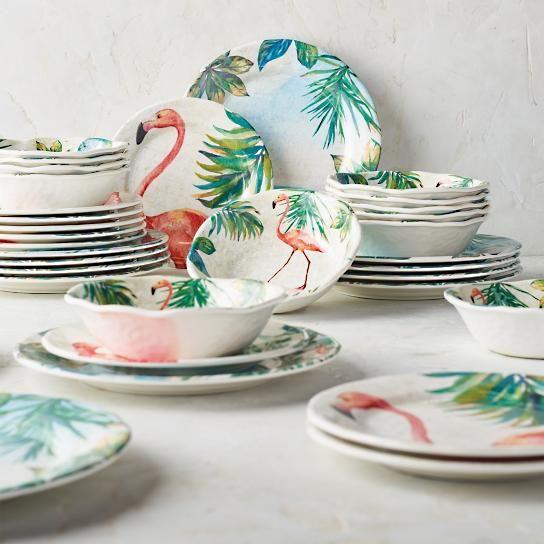 Flamingo Melamine Dinnerware 12-pc. Set & Flamingo Melamine Dinnerware 12-pc. Set | Mi casa | Pinterest ...