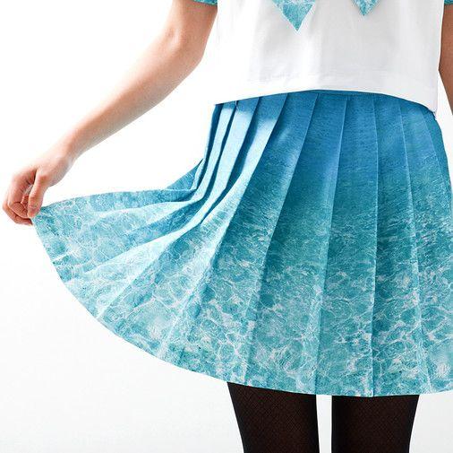Neographic Sailor Uniform ocean print seifuku serafuku japanese school uniform