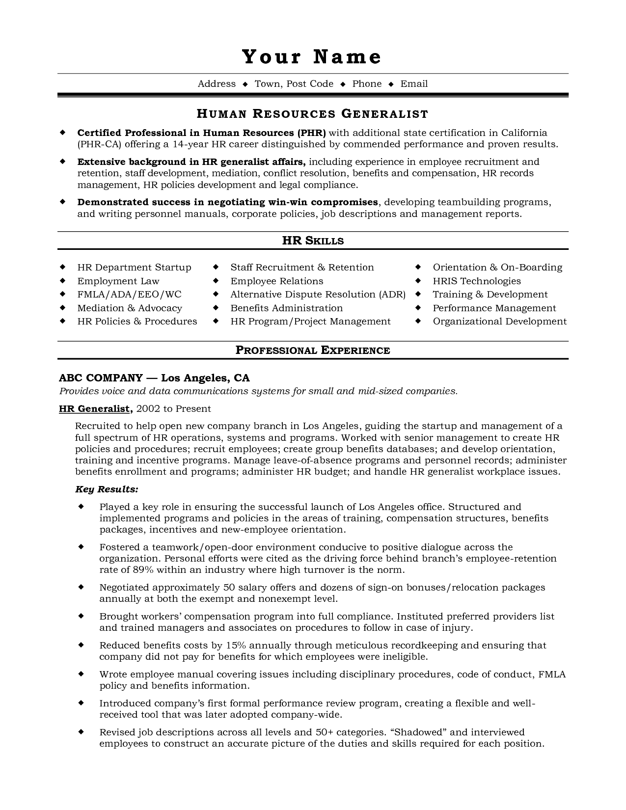 free resume templates human resources template example personal summary for 1 page word professional examples nurses