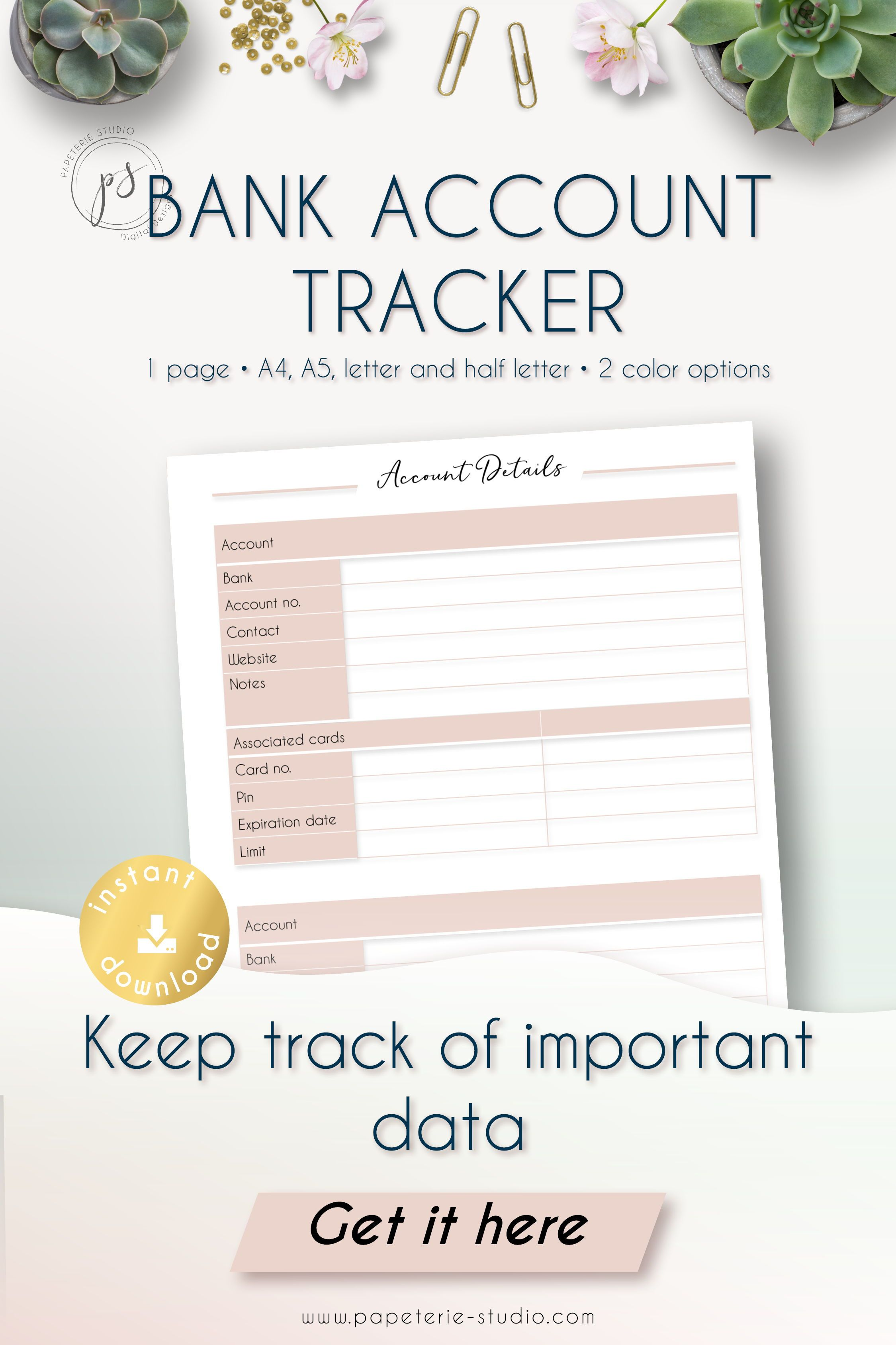 Printable Bank Account Information Tracker