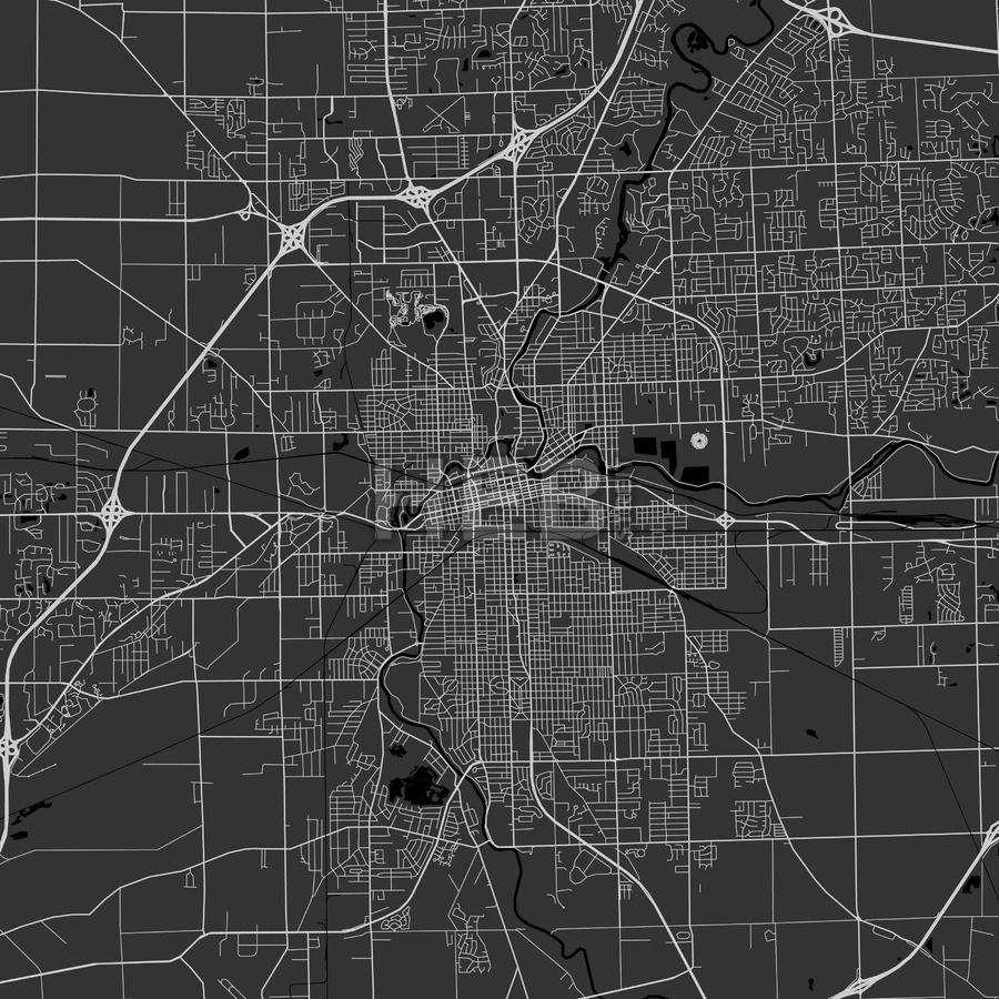 Fort Wayne Indiana Area Map Dark Ui ux