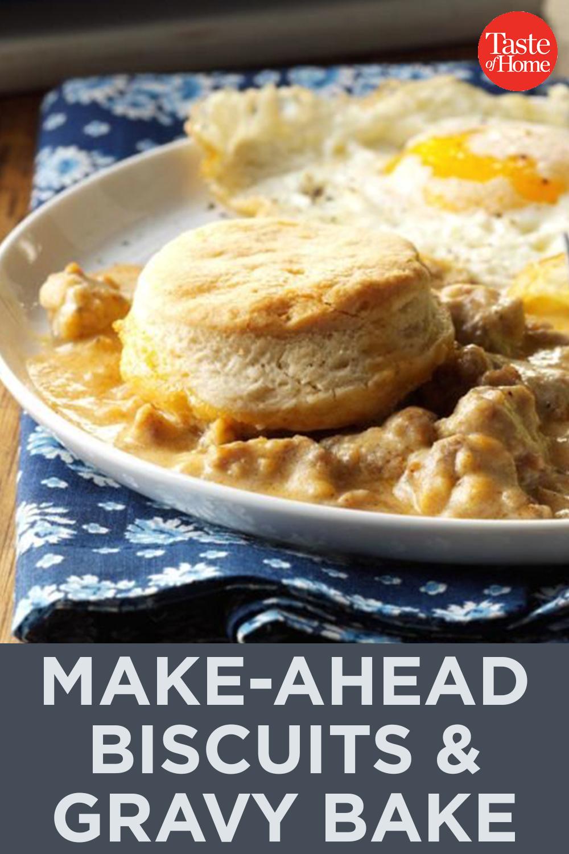 Make-Ahead Biscuits & Gravy Bake#Bake #Biscuits #Gravy #MakeAhead