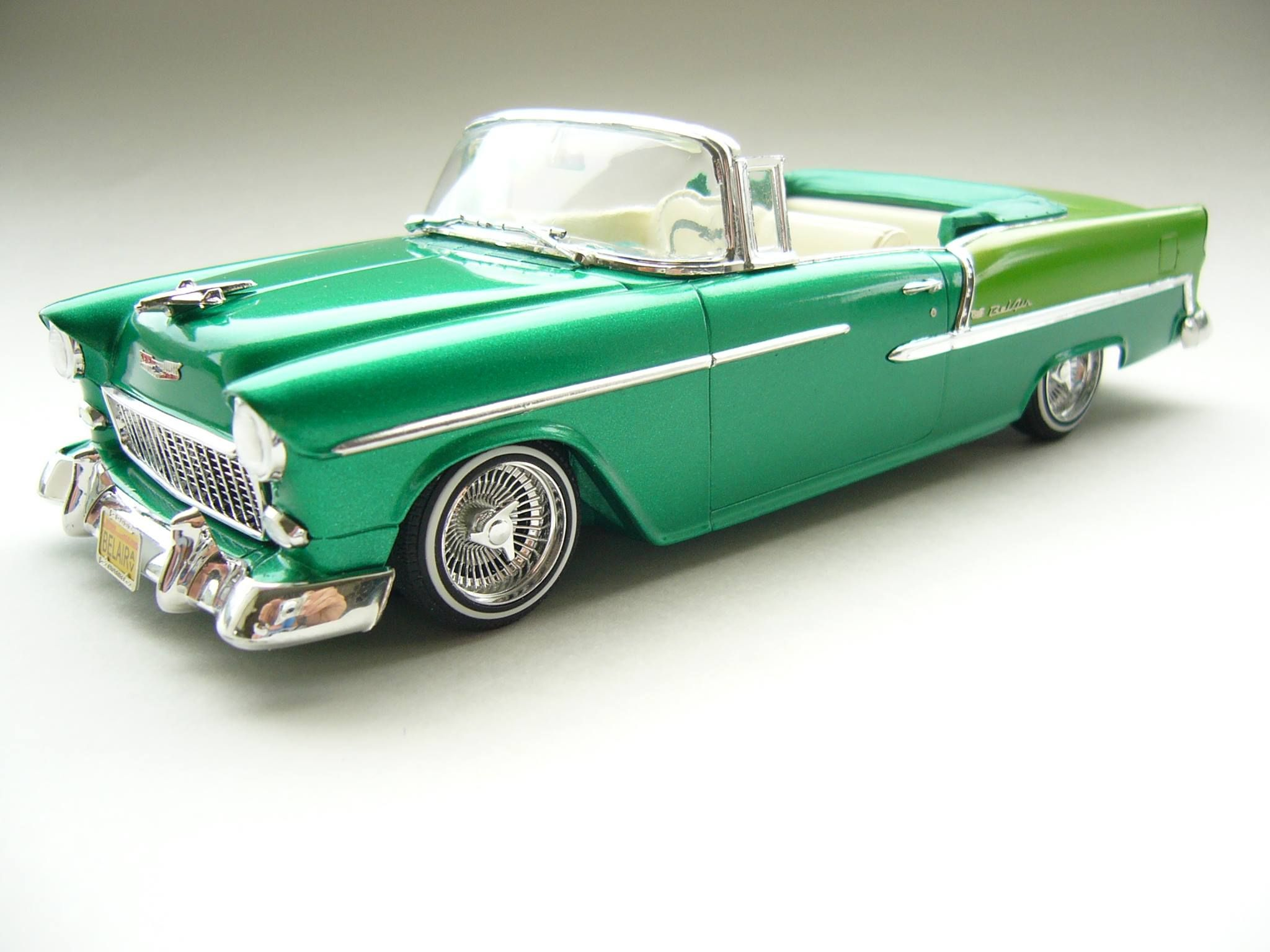 55 Chevy Bel Air convertible Lowrider model cars, Scale