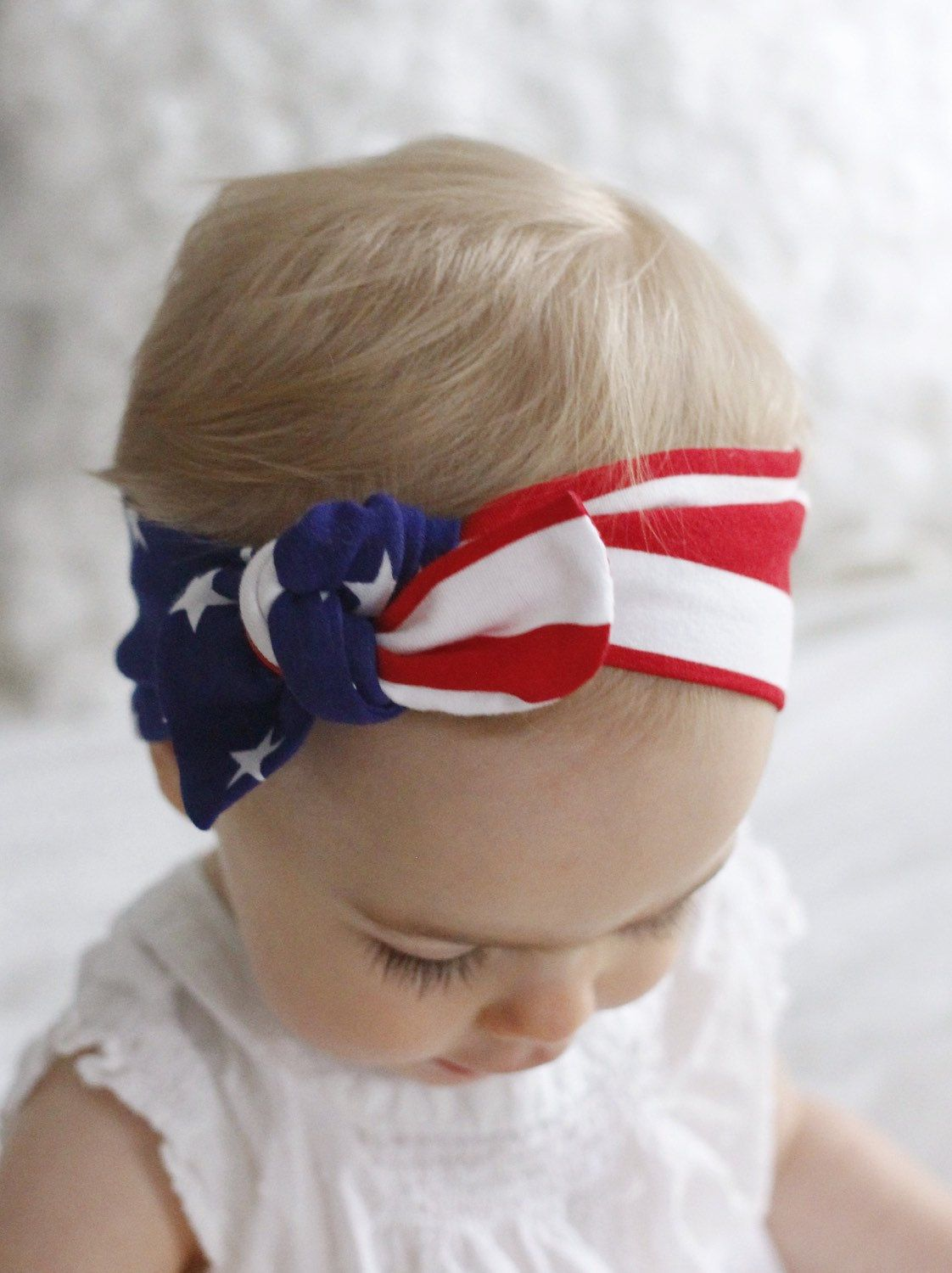 American Usa Flag Top Knot Headband Size Newborn To