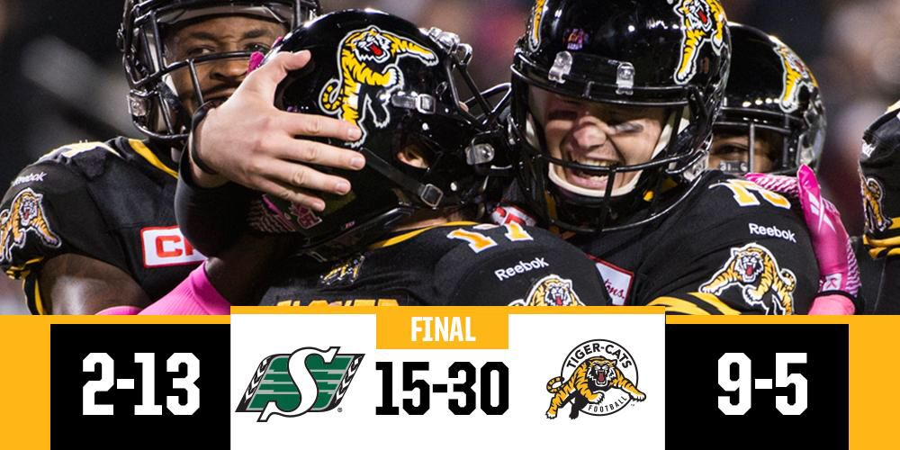 @CFL: #FNF comes to a close in Hamilton, and the @TiCats are in sole possession for first place in the East. 10/09/15
