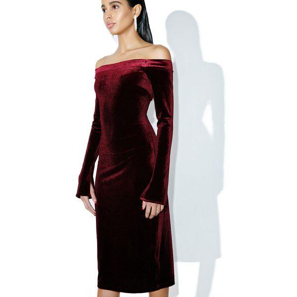 Velvet Crimson Off Shoulder Bodycon Dress ($48) ❤ liked on Polyvore ...
