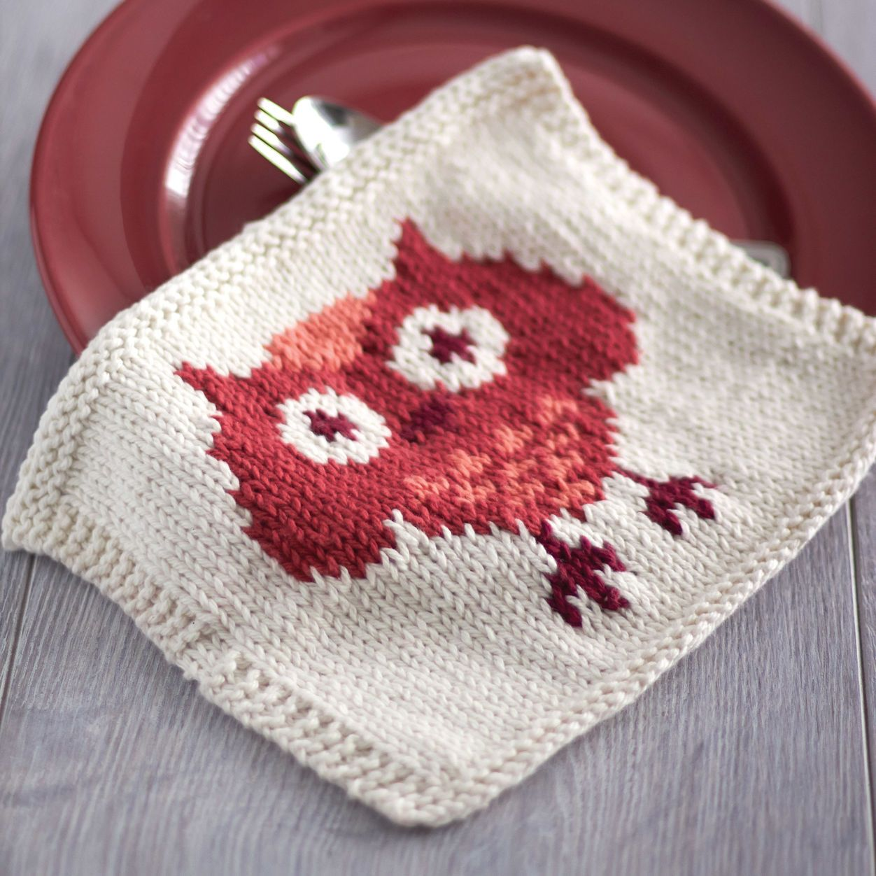 Free Knitting Pattern Lily Sugarn Cream Owl Dishcloth Dishcloth