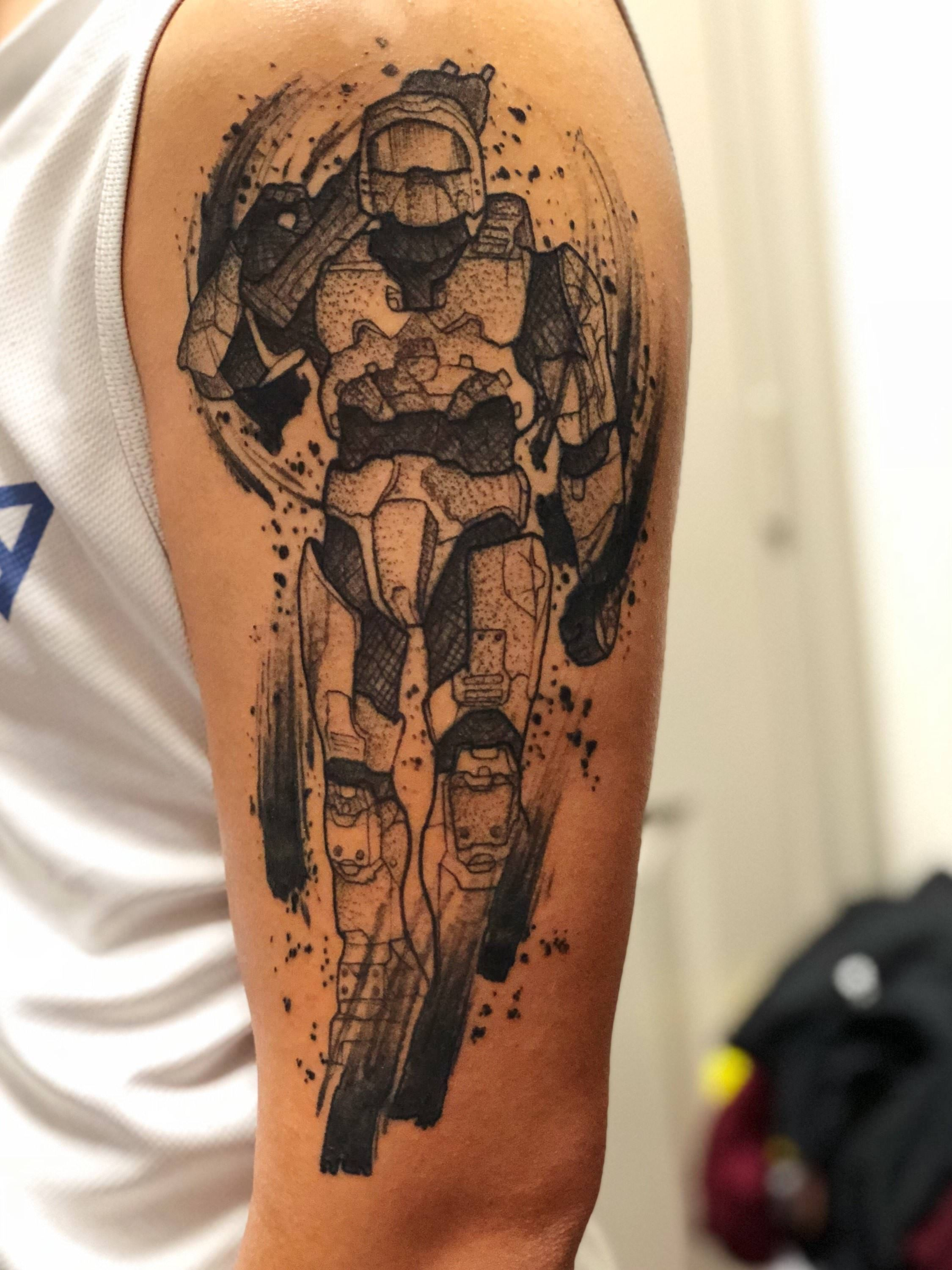 Master chief by ringo at red dagger studio in houston tx