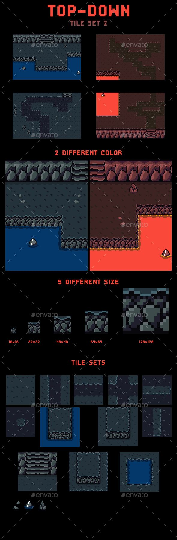 This is a top-down tile set to create some RPG cave and lava