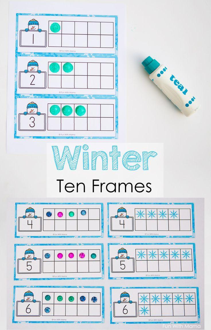 Snowman Winter Ten Frame Printable  Subitizing Frame Template