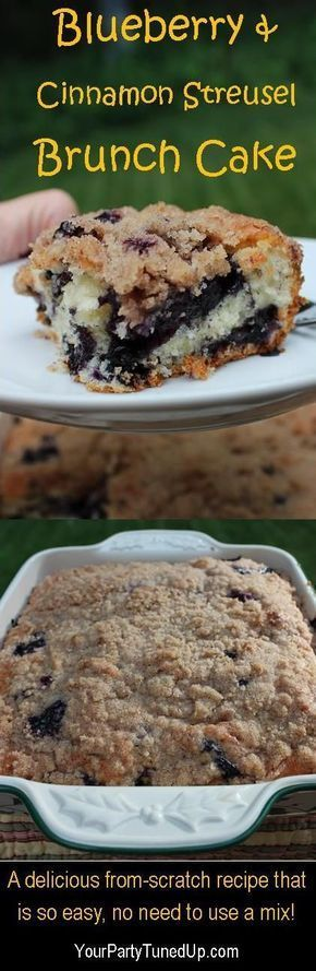 BLUEBERRY AND CINNAMON STREUSEL BRUNCH CAKE. Dieses einfache Rezept verdient Rave Revie ... -