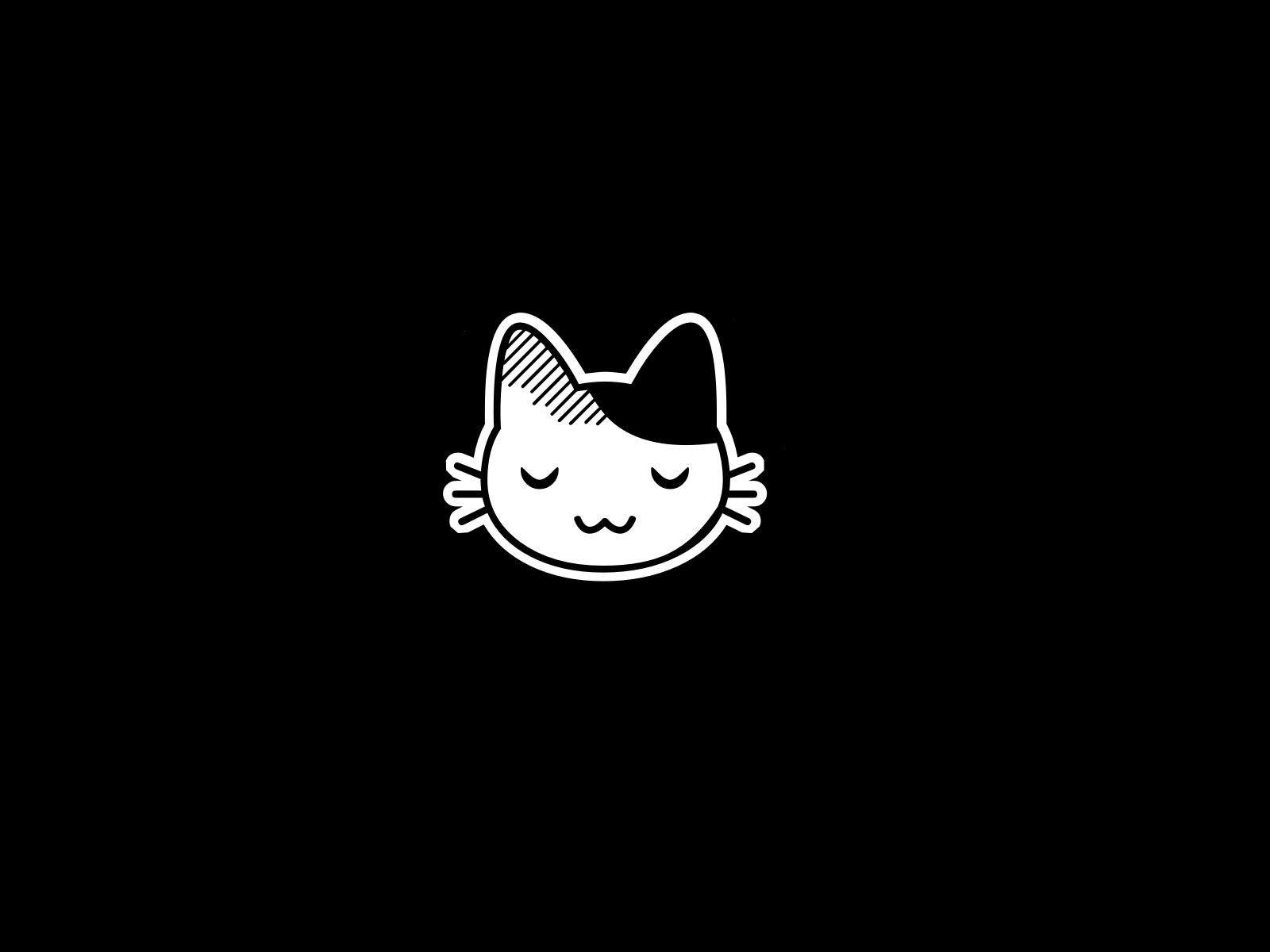 Anime Cat Hd Background Cartoon Wallpaper Black And White Cartoon Cute Anime Cat