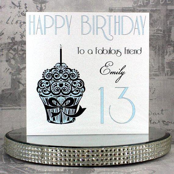 Personalised Birthday Card Birthday Cupcake Handmade Etsy Personalized Birthday Cards Birthday Cards Greeting Cards Handmade