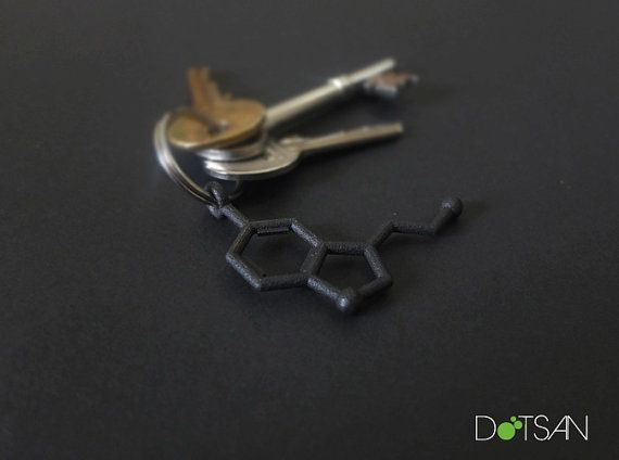 3D Printed Seratonin Molecule Keychain