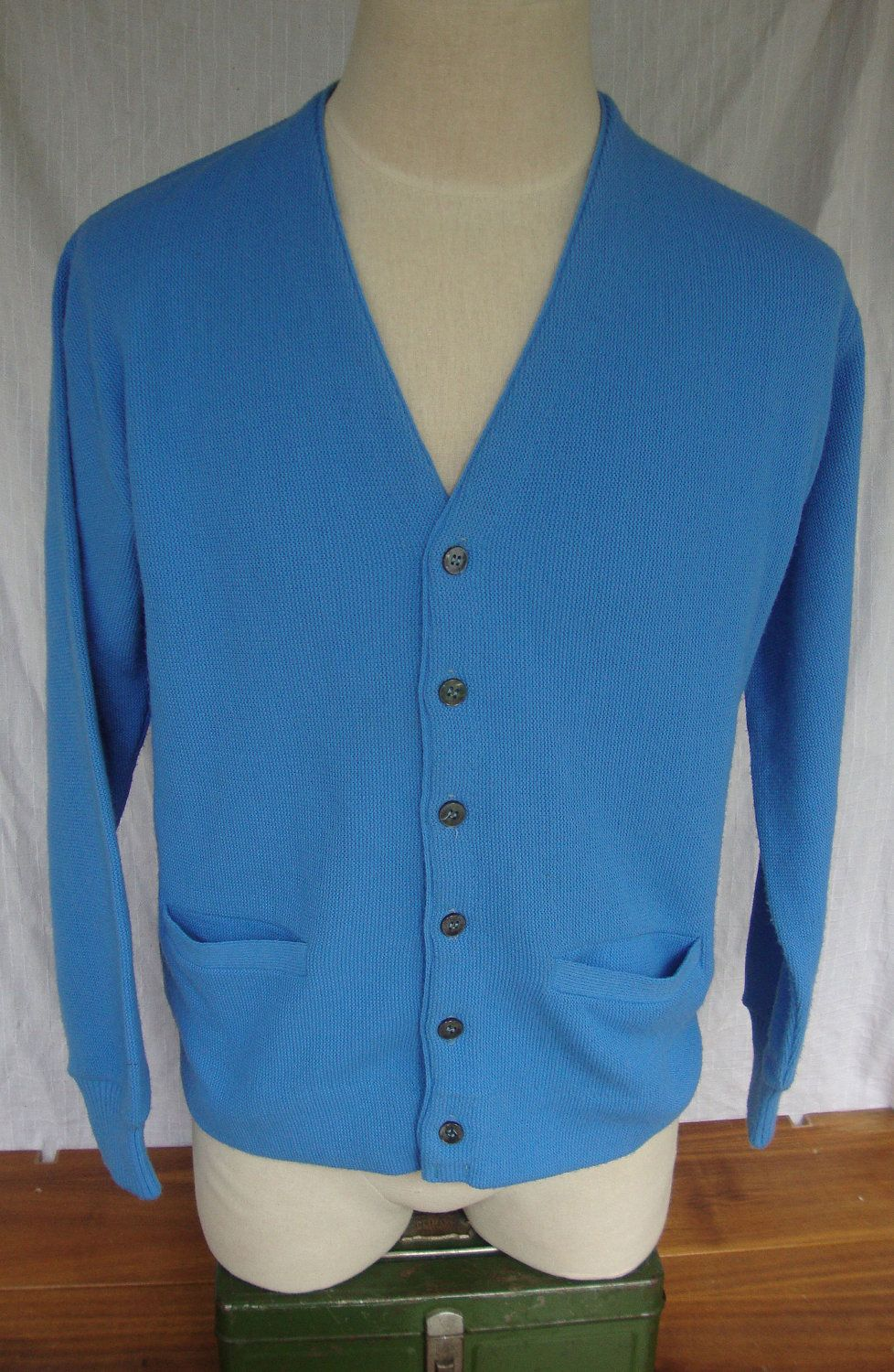 vintage 1960s 100% Virgin Orlon Acrylic light blue Cardigan ...