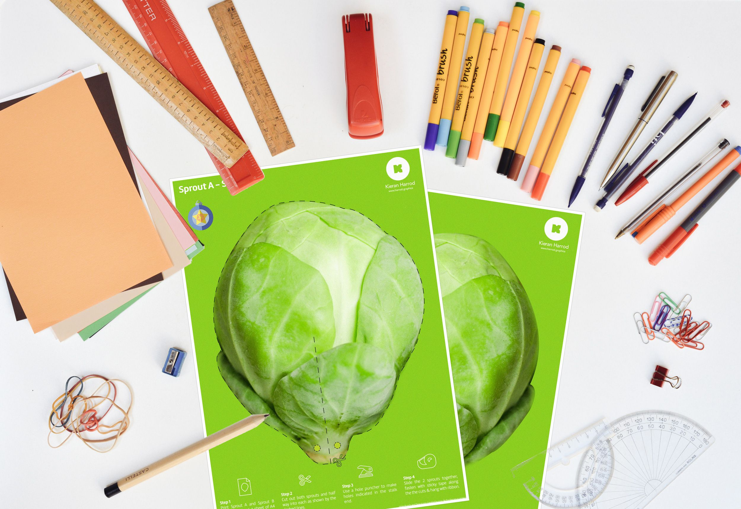 Festive Hanging Sprout Printable  A little seasonal treat for the festive period!  Download and print your very own hanging sprout decoration!  http://derby.graphics/festive-hanging-sprout-printable
